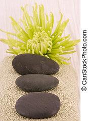masseren, stenen, groene, ast