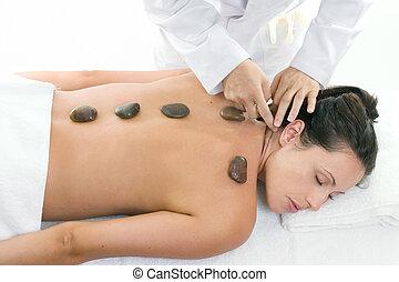 masseren, vrouwlijk, krijgen, behandeling, relaxen