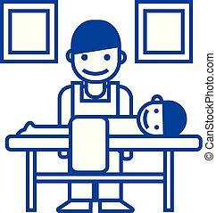 Masseur, chiropractor line icon concept. Masseur, chiropractor flat vector symbol, sign, outline illustration.