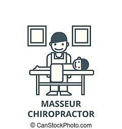 Masseur, chiropractor vector line icon, linear concept, outline sign, symbol