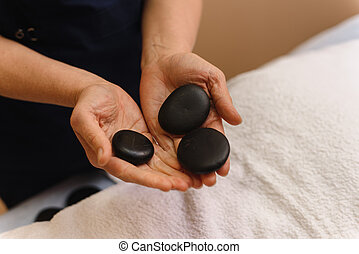 masseur, handen, black , plat, stenen, spa