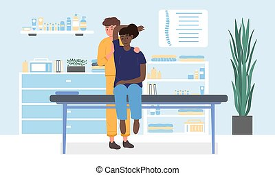Masseur in a massage parlour with black female client giving her a relaxing pampering body massage in the salon, colored vector illustration