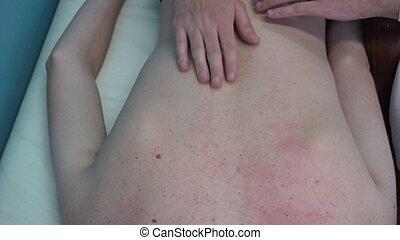 masseur., patient, elle, masseur, réception, masage