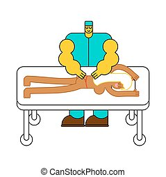 Masseur. Specialist for massage. massage table. strong man...