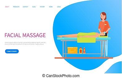masseuse, masseren, vector, gezichts, ontspanning, vervaardiging