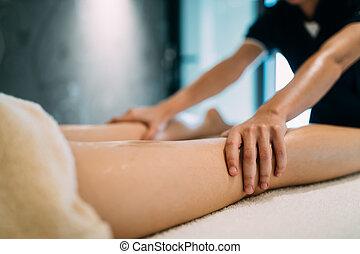 masseuse, masseur, tretment, pendant, masser, thérapeutique