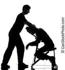 massieren therapie, mit, stuhl