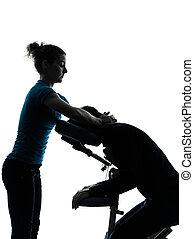 massieren therapie, mit, stuhl, silhouette