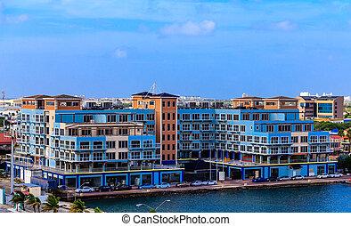 Blue Condo Building Construction in Aruba