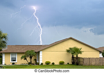 Massive daytime lightning strike near homes during afternoon...