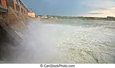 Massive discharge water from the dam of hydroelectric plant to prevent overflow