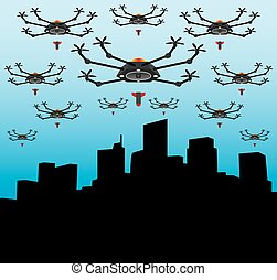 Drones are bombing a city