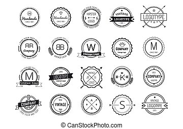 Massive logo badges template bundle. Logo set. Old style and...