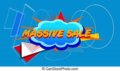 Massive sale graphic on cloud shaped banner