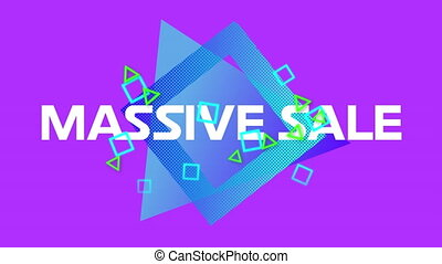 Massive sale graphic on purple background