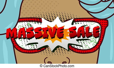 Animation of face with sunglasses and comic speech bubble Massive Sale text with abstract shapes moving in hypnotic motion on white background. Colour and movement concept digitally generated image.