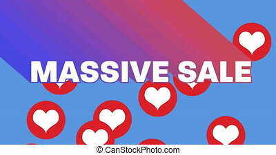 Massive Sale text against red hearts icons on blue background