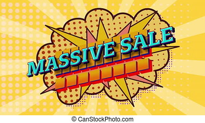 Massive sale text on speech bubble against yellow background...