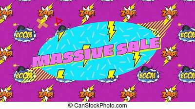 Massive sale text over boom and zap text on speech bubbles ...