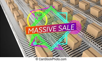 Massive Sale with parcels on conveyor belts