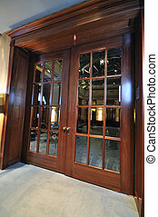 massive wooden door - big massive luxury wood door in hotel...