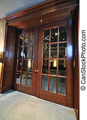 massive wooden door - big massive luxury wood door in hotel...