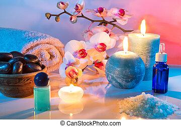 masszázs, és, aromatherapy, -oil
