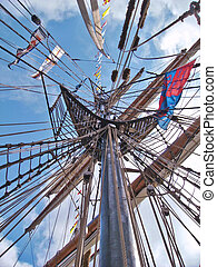 Mast 2 - Tall mast of an old sailing vessel with a rigging ...