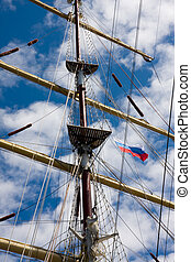 Mast and rigging of old sail ship