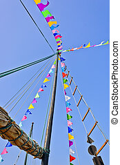 Mast and sail rolled-up
