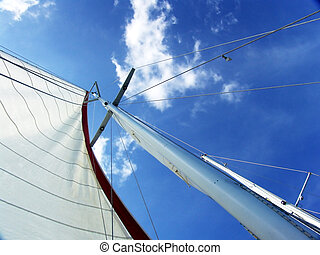 Mast from below - A sailboat mast from below