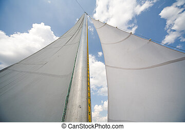 mast of my small private yacht - sailing on the lake