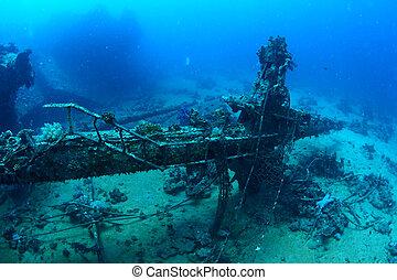 Mast of shipwreck. Red Sea, Egypt.