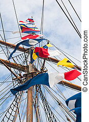 mast, van, een, oud, het zeilen boot