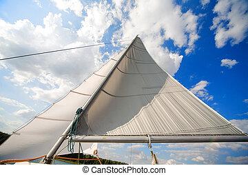 mast, van, mijn, kleine, particulier, jacht, -, zeilend, op,...