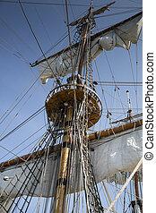 mast, van, oud, en, beatiful, zeilschip