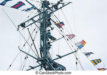 mast, von, der, militärisches schiff, und, alarm, flaggen