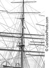 Mast with rigging of old sailing ship