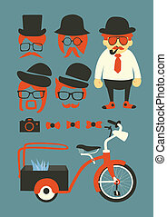 mastache background, elements and icons vector