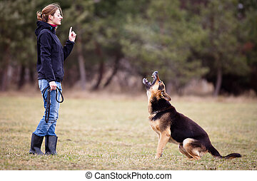 Master and her obedient dog - Master and her obedient...