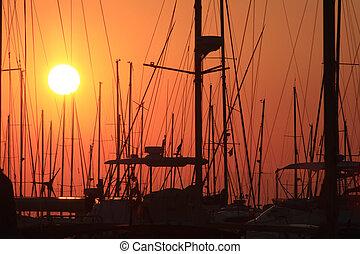 master, av, segelbåtar, hos, solnedgång
