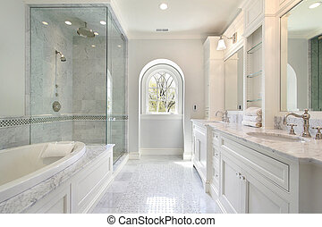 Master bath in luxury home - Master white bath in new ...