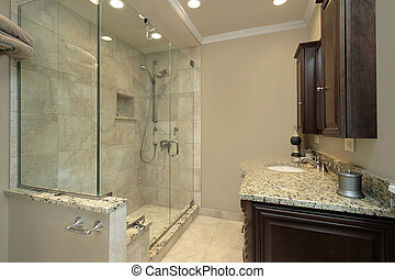 Master bath with glass shower - Master bath in luxury home ...