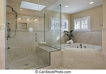 Master bath with glass shower - Modern master bath with ...