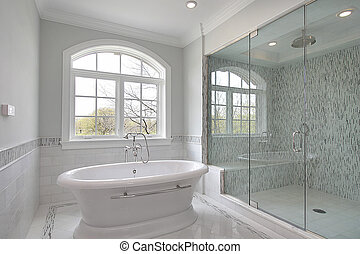 Master bath with large shower - Master bath in new...