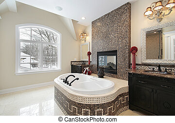 Master bath with marble tile tub - Master bath in new...