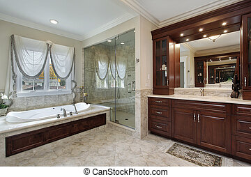 Master bath with marble tub - Master bath in luxury home...