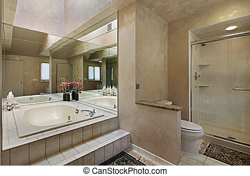 Master bath in luxury home with mirrored tub