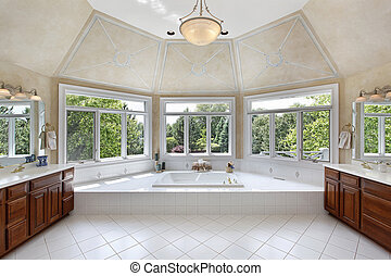 Master bath with windowed tub area - Master bath in luxury ...