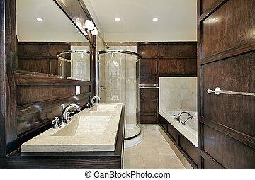 Master bath with wood paneling